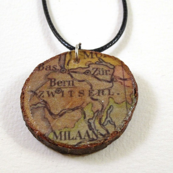 World map necklace, wooden pendant