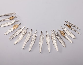 Silver Feather Pendant   Native American Inspired   Double Feather Charm   Feather Jewelry   Small Feather Charm   Tribal Silver Pendant