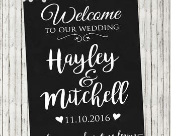 Wedding  Sign | Welcome Sign | Personalised Print | Wedding Party | Welcome to our Wedding | 2 Designs | Floral Print