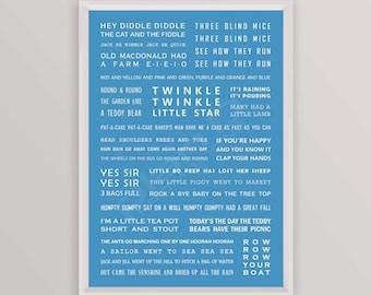 25% OFF! Nursery Rhymes Print for boys / newborns / babies. BLUE A4 size