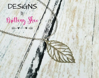 SALE** Thin Silver Leaf Necklace