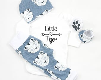 Baby Boy Coming Home Outfit Tiger, Newborn boy set, Baby Tiger, Organic Baby Boy Outfit, Clothe Baby Boy, Tiger, Organic Cotton,Little Tiger