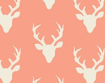 AGF KNIT Buck Forest Coral Peach Fabric Cotton Fabric Jersey Knit Deer Fabric Art Gallery Coral fabric Stretch fabric Hello Bear Buck Forest
