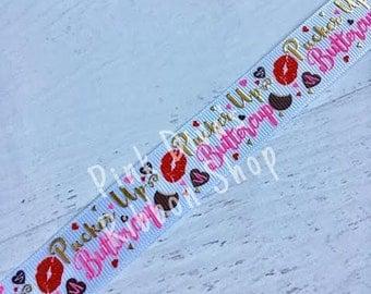7/8 Pucker Up Buttercup USD ribbon - USDR - Valentine's Ribbon