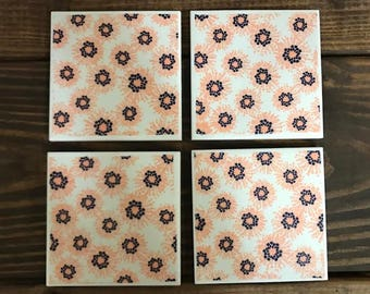 Coasters - Pink & Navy Floral Print - Handmade Ceramic Tile Coasters - Set of 4 - 4x4 inches