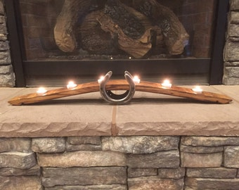 Wine Stave Candle Holder With Horseshoes