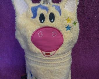 """Washcloth/washcloth """"Unicorn"""" stitched / embroidered"""