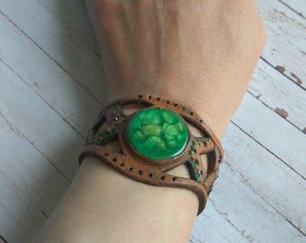 The nice bracelet of genuine leather
