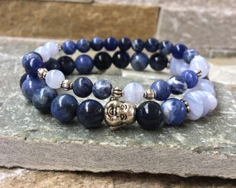 Buddha bracelet set chalcedony Sodalite mala bracelet