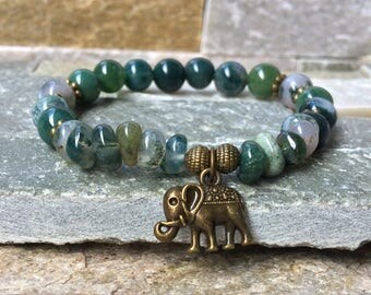 Elephant bracelet Moss agate mala bracelet