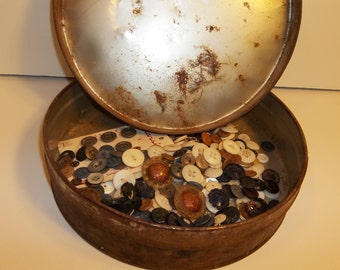 Old Rusty Tin Button Box