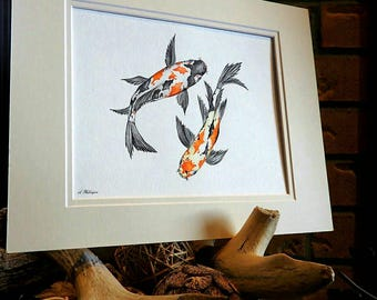 Koi fish art, Japanese art, Zen decor, Animal nursery art, Yoga decor, Meditation art, Coastal wall decor, Beach art, Acrylic painting