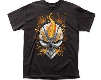 Ghost Rider Flaming Skull 18/1 Men's Traditional Fit Tee (GR04) Black
