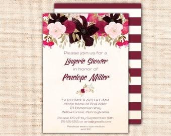 Boho Lingerie Shower Invitation, Printable Editable PDF, Bohemian Lingerie Shower Invites, Lingerie Bridal Shower Invitation Download K002