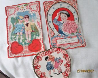 1930's Valentines, vintage American cards, love greeting cards, 1930's designs, boys and girls valentines