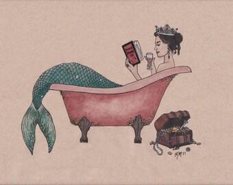 Mermaid Reading About Human Behavior In Clawfoot Tub Art Print