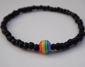 Colourful Festival Friendship Bracelet Black Seed Beads Unisex Gay Pride
