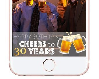 Cheers to 30 Years Custom Snapchat filter, 30th birthday snapchat geofilter, 30th birthday party filter