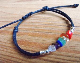 Women's Chakra Gemstone Cord Bracelet,