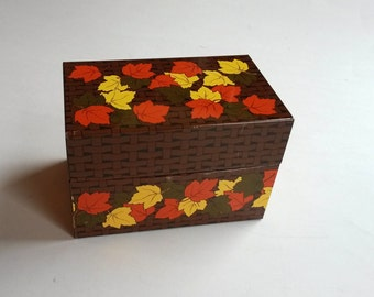 Vintage metal recipe box, Fall leaves retro kitchen decor, vintage tin, vintage box