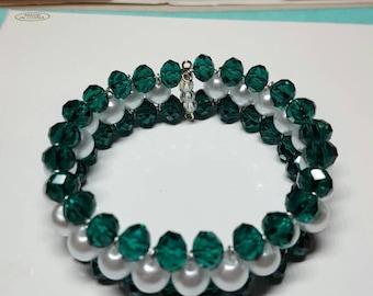 Beautiful green & white bracelet