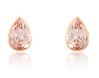 Morganite and Rose Gold Earrings