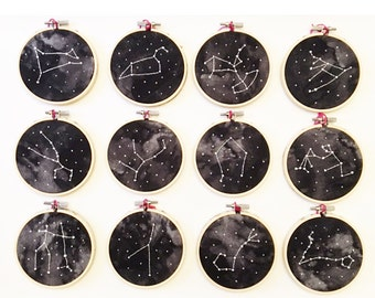 """4"""" Zodiac Constellation embroidered hoops / embroidery / handmade / zodiac / constellation / signs / decor / custom / space / stars"""