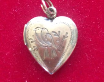 Vintage heart shaped sterling silver locket, 12k gold over sterling