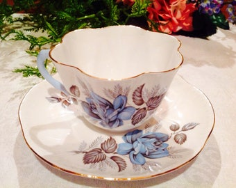 Shelley teacup and saucer in beautiful blue