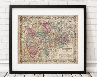 Germany Map Print, Vintage Map Art, Antique Map, Office Wall Art, Map of Germany, Old Maps, Map Poster, Germany Print, German Art, Gifts