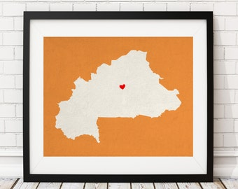 Custom Burkina Faso Silhouette Print, Customized Country Map Art, Personalized Gift, Heart Map Print, Housewarming Gift, Home Country Love