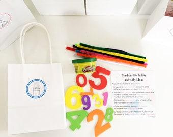 NUMBERS - Kids Birthday Party Favours - Kids Party - Party Bags Set of 6 - Kids Party Favors - Treat Bags - Return Gift - Birthday Party Bag