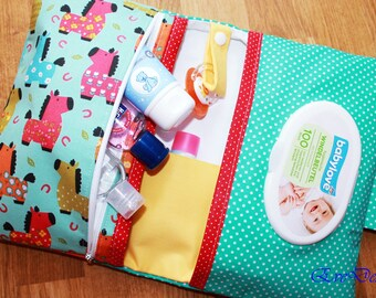 Nappy Wallet ( red, green, blue, colorful little horses )