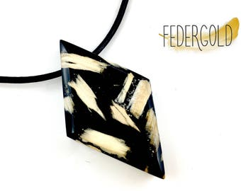 Large Black Geometric Wood and Resin Pendant Necklace
