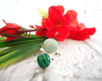 Brilliant emerald green and light green double statement ring.