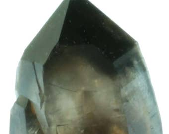 Dark Smoky Quartz Crystal with Morion Point.