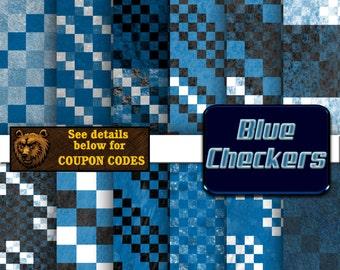 blue checkers digital paper, digital download, scrapbook paper