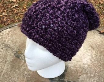 Handmade // Crocheted Purple Beanie