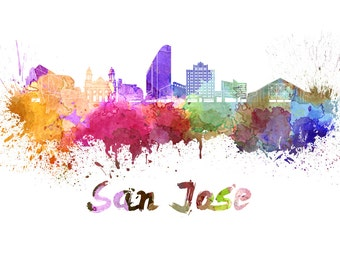 San Jose California skyline watercolor canvas, San Jose Canvas Print,  San Jose wall art, Canvas Wall Art, Watercolor Skyline, Gift Ideas