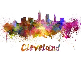 Cleveland skyline watercolor canvas,  Cleveland Canvas, Cleveland wall art, Cleveland Canvas Wall Art, Cleveland wall art canvas, Cleveland