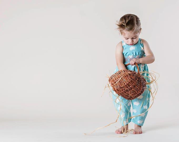 Organic Baby Easter Harem Romper with White Rabbit Print