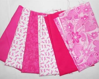 Breast Cancer Awareness Pink Ribbon Fat Quarter Bundle 6pc. - floral/heart/pink ribbon/solid and mottled pink tones (#O172)