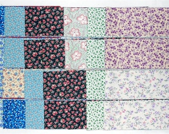 "Jelly Roll -40ct. Precut 2.5"" strips/tiny floral/flowers/vines/calico/green/blue/white/pink/purple/lavender (#JR8)"
