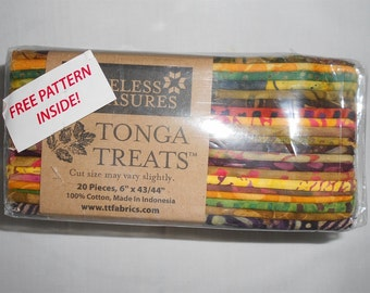 """BATIK Fabric-TONGA TREATS- Timelesss Treasures Precuts approx. 20 pieces 6"""" x 43/44"""", cotton, free pattern Geese in Flight included  (#3306)"""