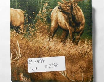 Fabric - 1yd piece-Elk Scenic-Calling the Herd/Buck/Hunting/Wildlife/Outdoors/Rustic/pine trees (#2494) Springs Creative Wild Wings CP38649