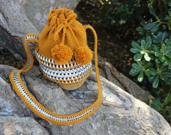 Beautiful and Unique Mochila Bag, Yellow Bucket Bag, Crocheted Mochila Bag, Sustainable and Hand-Knitted Bucket Bag, One-Of-A-Kind Handbag