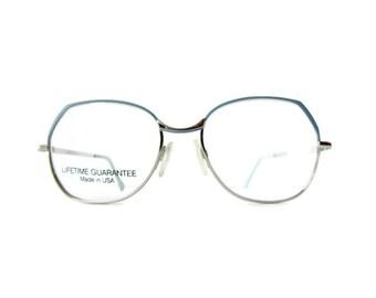 vintage wire framed eyeglasses eyewear retro frames silver frames 80s style vintage eyewear costume glasses hipster round glasses blue