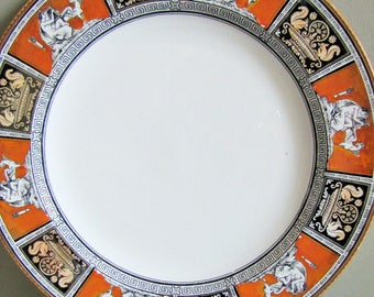 Rare Antique William Brownfield Plate, ROME pattern, Neo Classic, Transferware, Victorian Pottery, Collectable Polychrome  Wall Plate