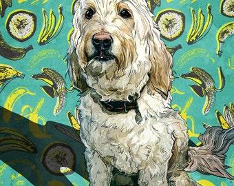 Custom pet portrait pop art on canvas, dog portrait design, vivid digital pet painting based on photo (doodle)