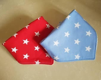 Red and Blue Star Bandana Dribble Bibs. Baby/Toddler Dribble bib. Set of two. One size